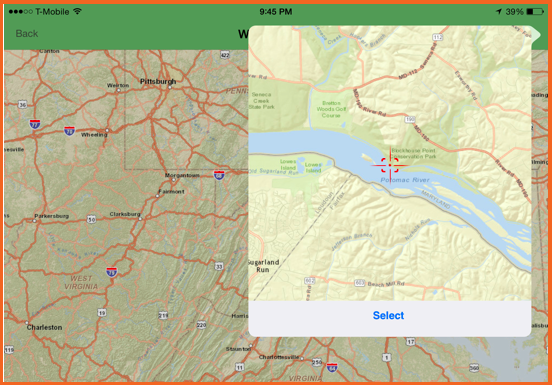Step 3 of using the ESRI widget for iOS
