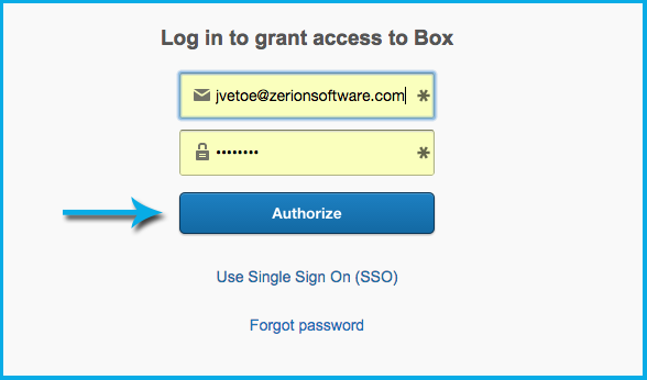 Finally, click the grant access to Box button to complete the link