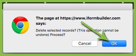 delete a record on iForm server