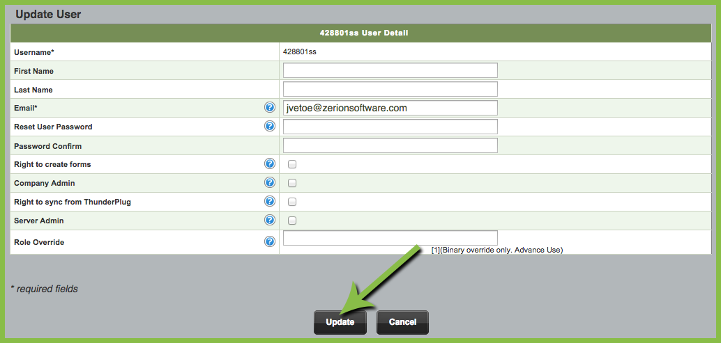 editing an iform user
