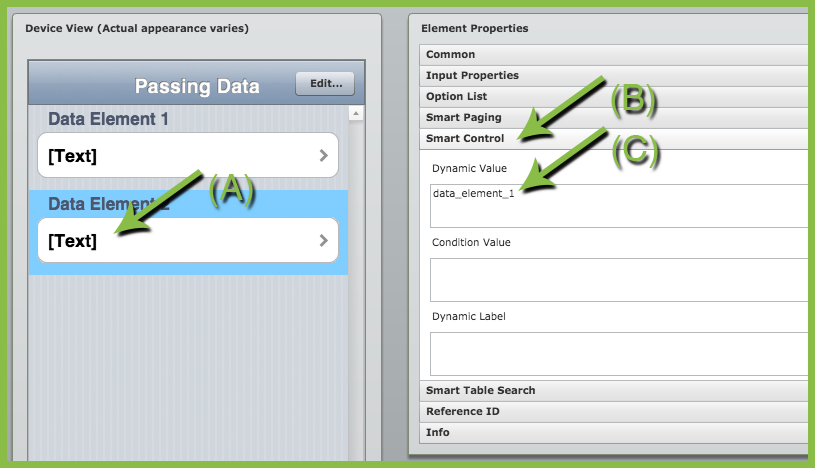 iForm pass data elements