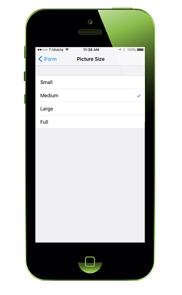 adjust iform picture size ios