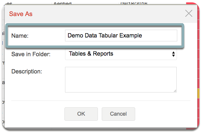 create tabular view